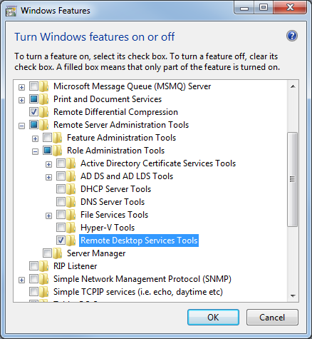Role Administration Tools in 'Windows features'